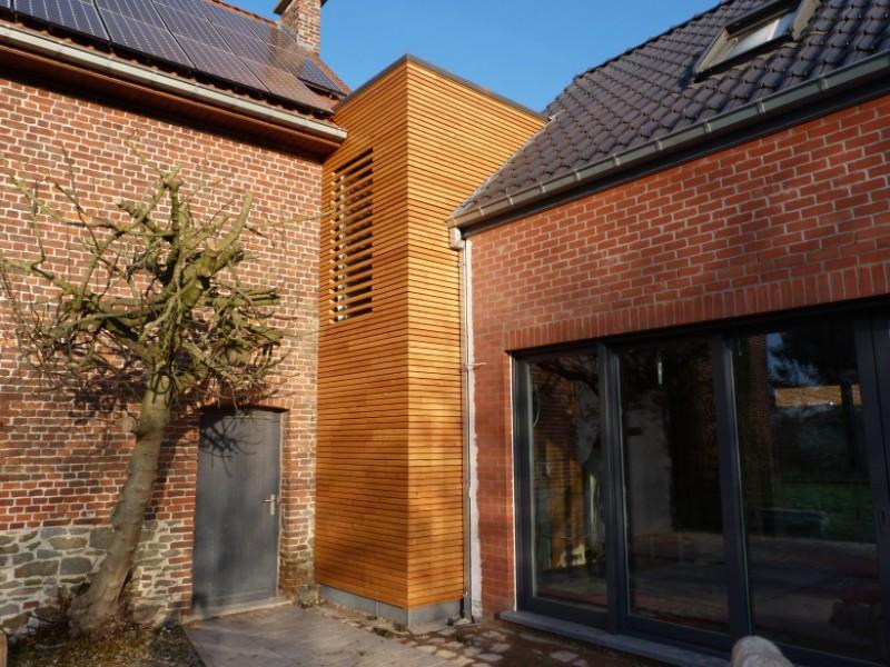 Bardage bois avec isolation par l 39 ext rieur wasmes for Isolation maison exterieur bardage bois