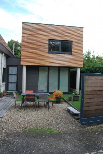 Extension d'une maison en ossature bois et toit plat en EPDM